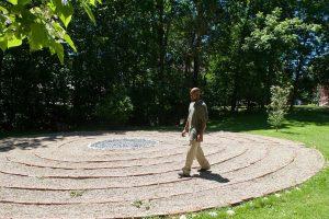 man walking a labyrinth, interfaith appreciation of pilgrimage